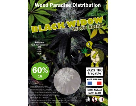 Black widow Résine |  1 gr 60% CBD THC -0.2%